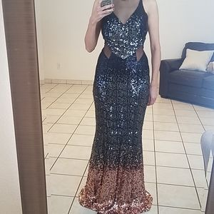 Crystal Doll Sequins Ombre Mermaid Gown
